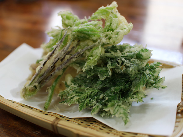 春の山菜 岩魚の天ぷら